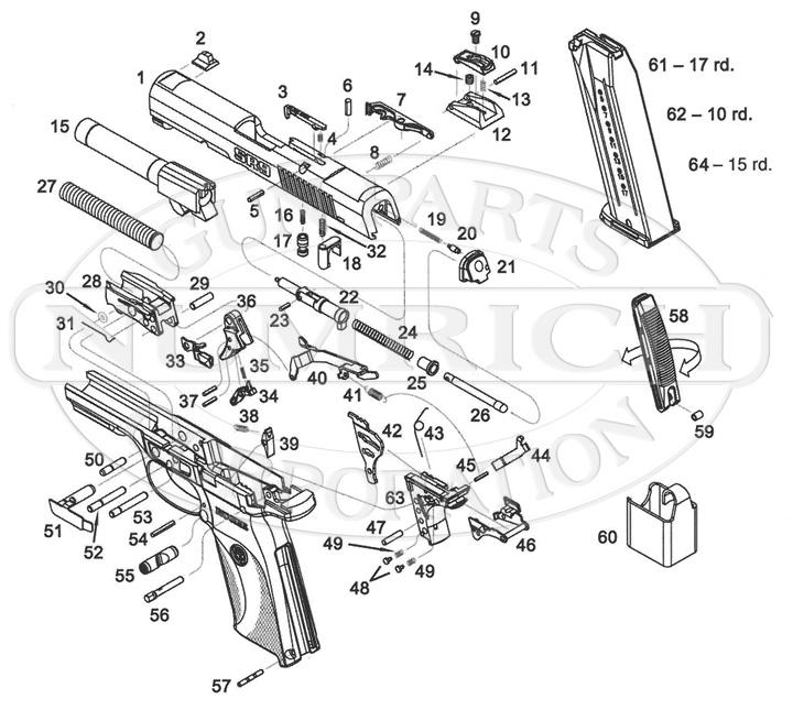 Ruger Auto Pistols SR40 gun schematic