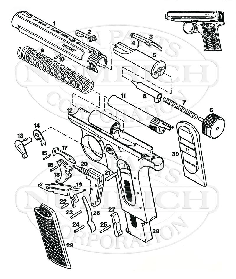 Sauer Auto Pistols 1913 gun schematic