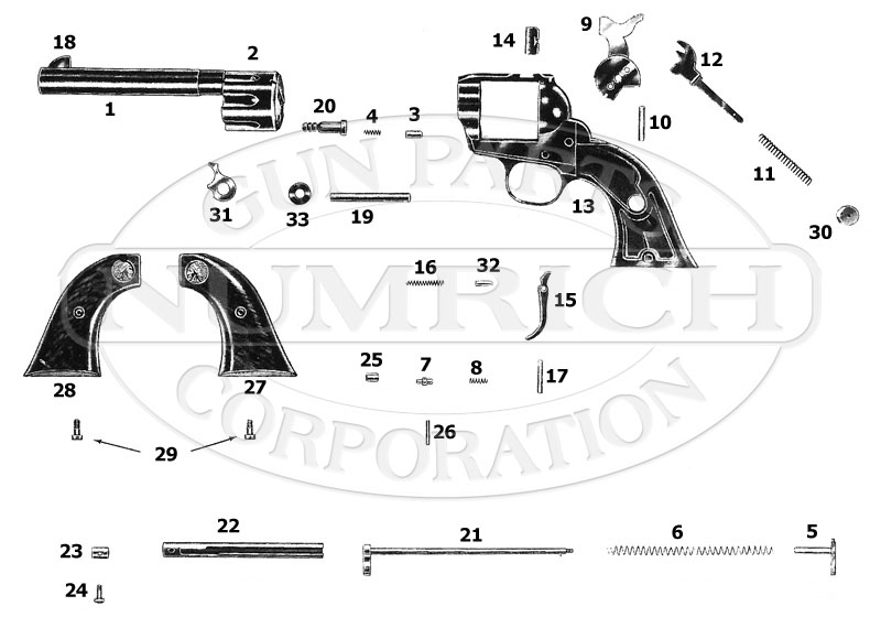 Savage / Stevens / Springfield / Fox Revolvers 101 gun schematic