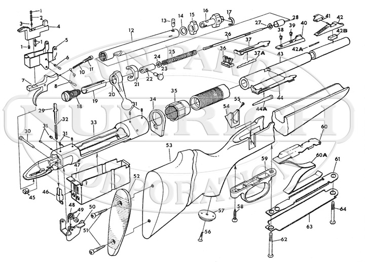 Savage/Stevens/Springfield/Fox Rifles 110 Series 110P gun schematic
