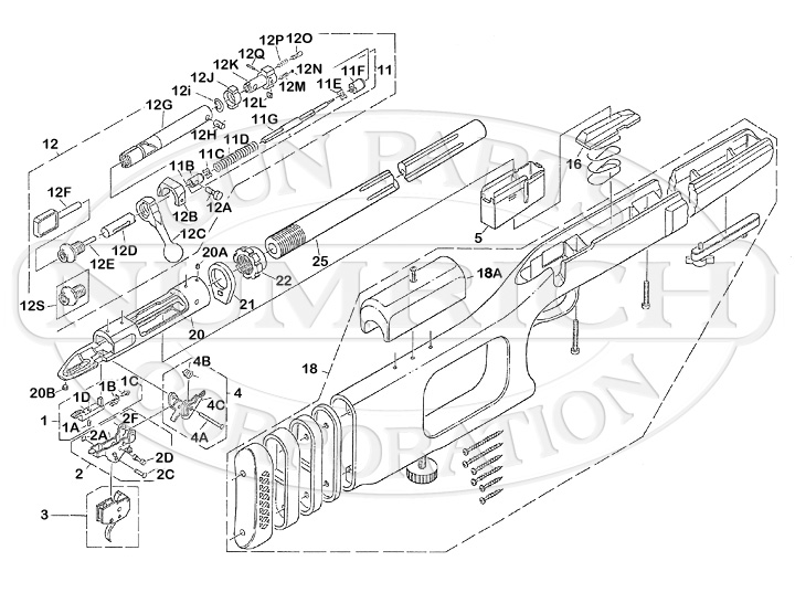 Savage/Stevens/Springfield/Fox Rifles 12 Series 12VSS Varminters gun schematic