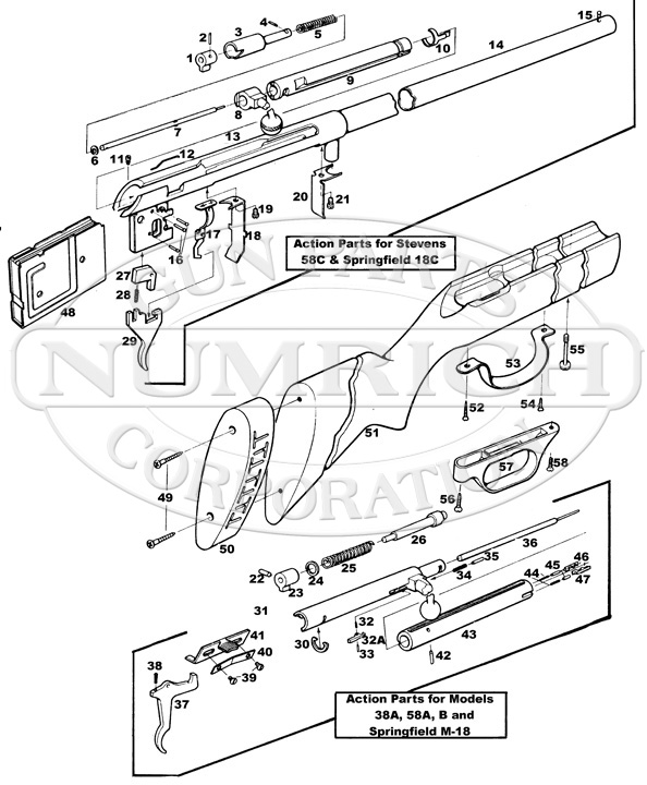 Savage/Stevens/Springfield/Fox Shotguns 58 Series 58C gun schematic