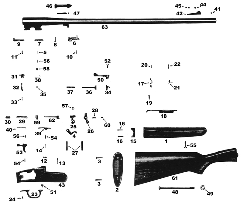 Savage/Stevens/Springfield/Fox Rifles 219B gun schematic