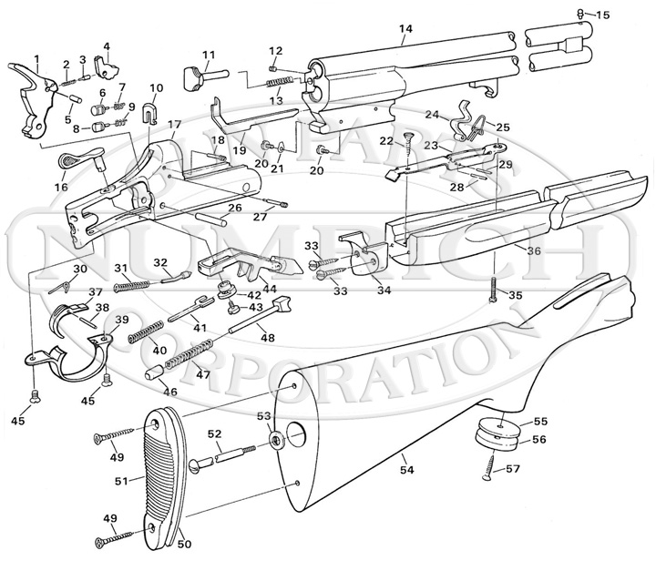 Savage/Stevens/Springfield/Fox Rifle/Shotgun Combinations 242 Series C gun schematic