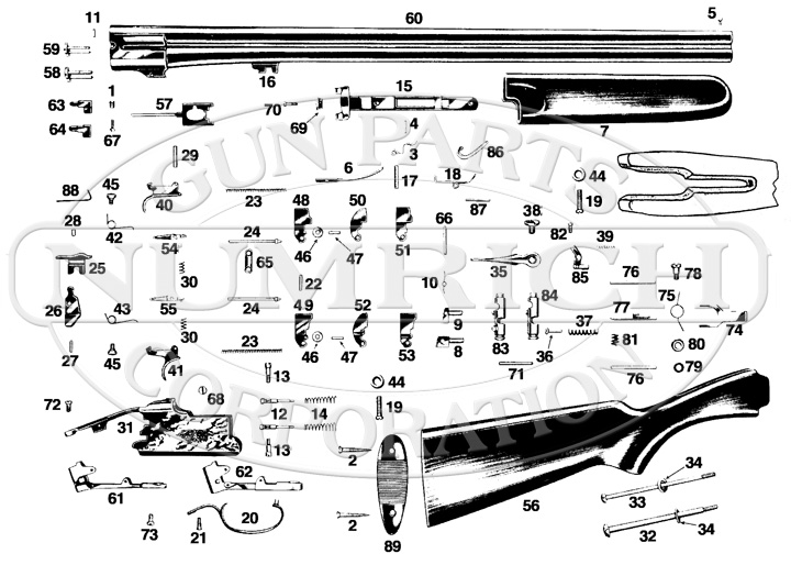 Savage/Stevens/Springfield/Fox Shotguns 420 gun schematic