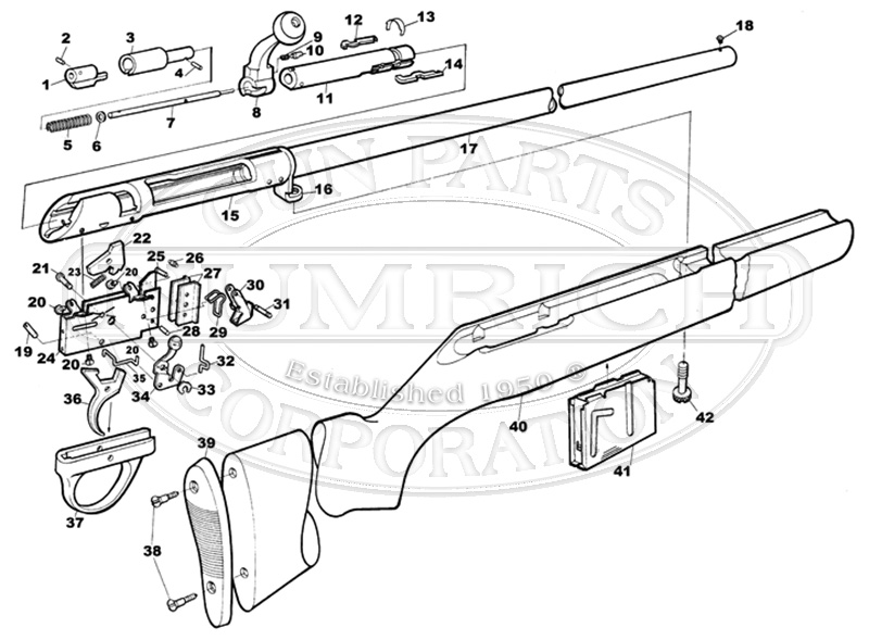 Savage/Stevens/Springfield/Fox Shotguns 18 Series E gun schematic