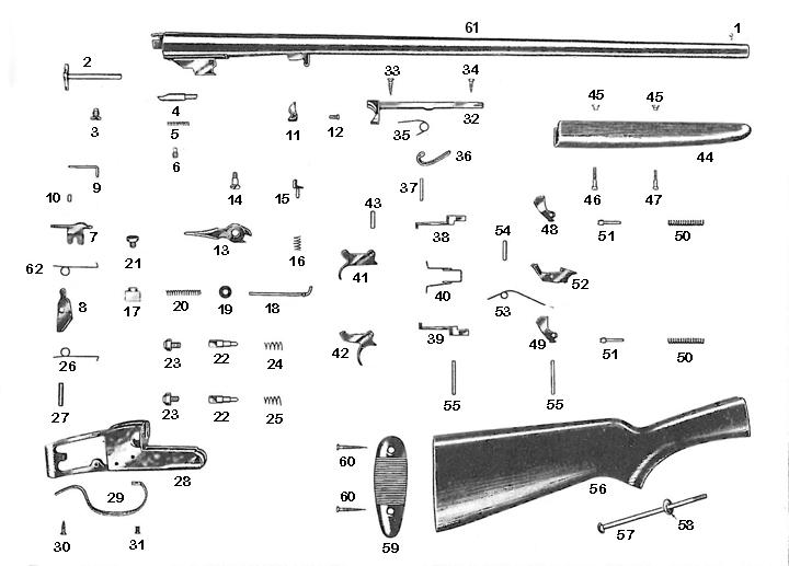 Savage/Stevens/Springfield/Fox Shotguns 515 gun schematic