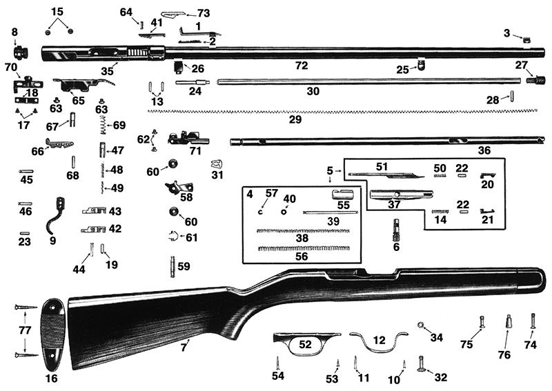 Savage/Stevens/Springfield/Fox Rifles 6 Rifle Series 6B gun schematic