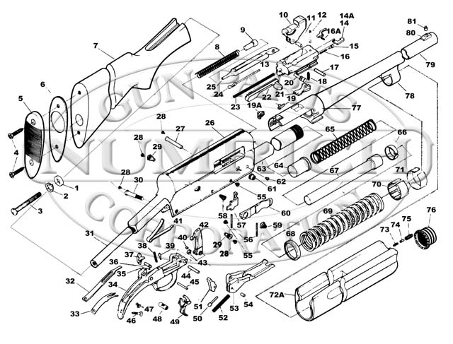 Savage / Stevens / Springfield / Fox Shotguns 720 gun schematic