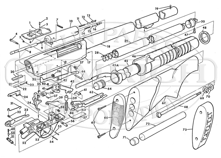 Savage/Stevens/Springfield/Fox Shotguns 67 Series 67E gun schematic