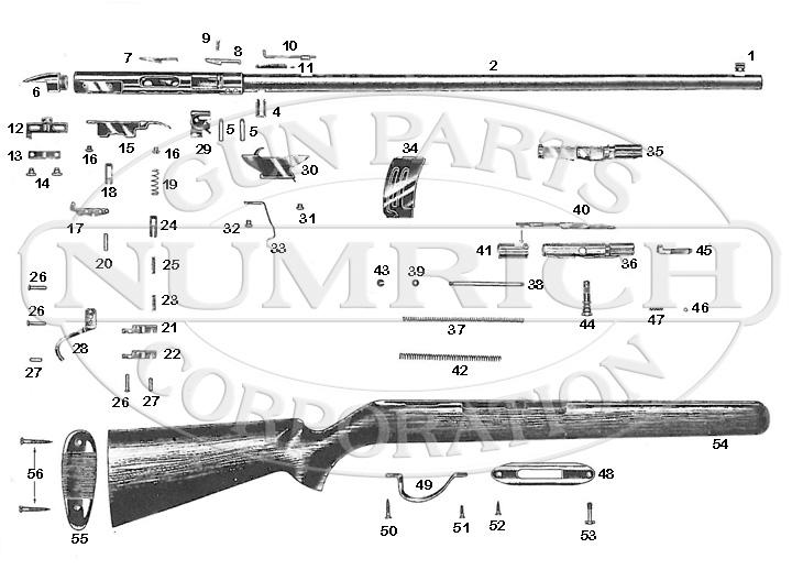 Savage/Stevens/Springfield/Fox Rifles 85KE gun schematic