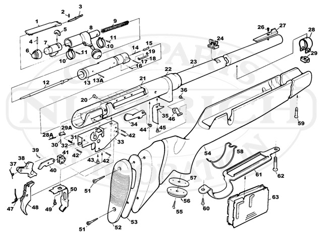 Savage/Stevens/Springfield/Fox Rifles 840 gun schematic