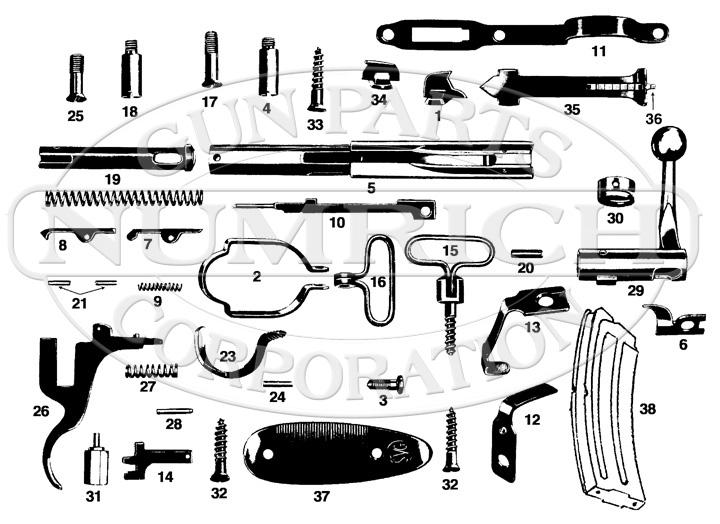 Savage/Stevens/Springfield/Fox Rifles Sporter 23AA gun schematic