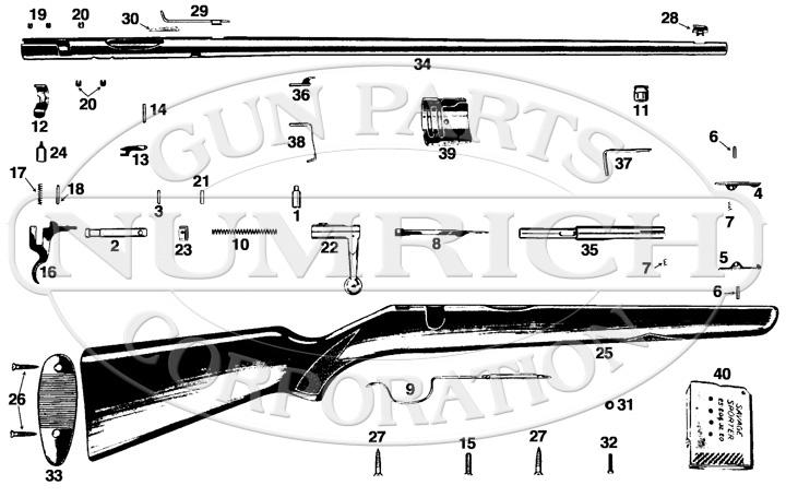 Savage/Stevens/Springfield/Fox Rifles Sporter 19H gun schematic