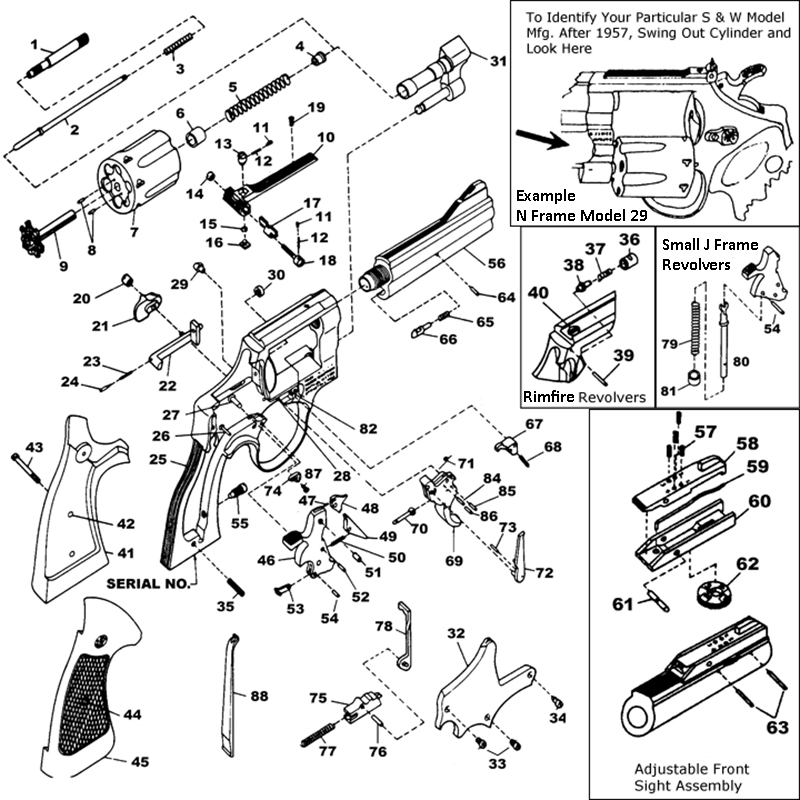 Smith & Wesson Revolvers 15 Combat Masterpiece (K Frame) gun schematic