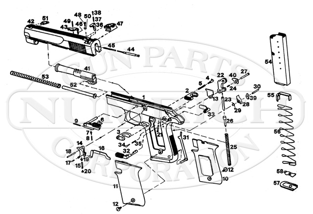 Star Firestar Old Model Pistol Parts and Schematic   Numrich on