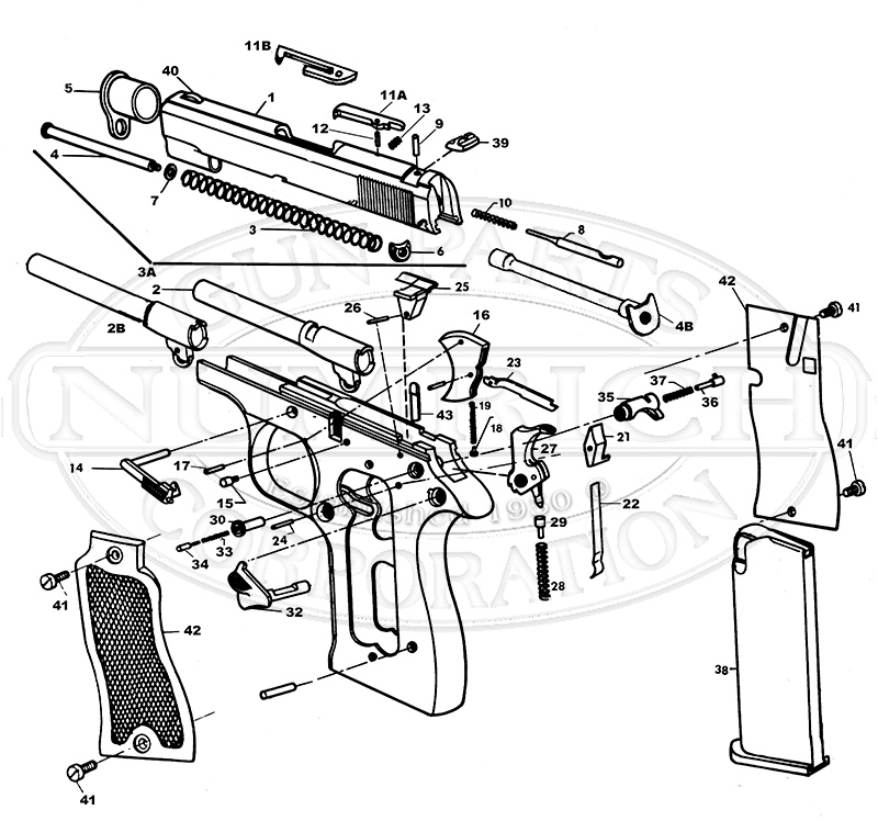 Colt Auto Pistols Pony 380 Single Action gun schematic