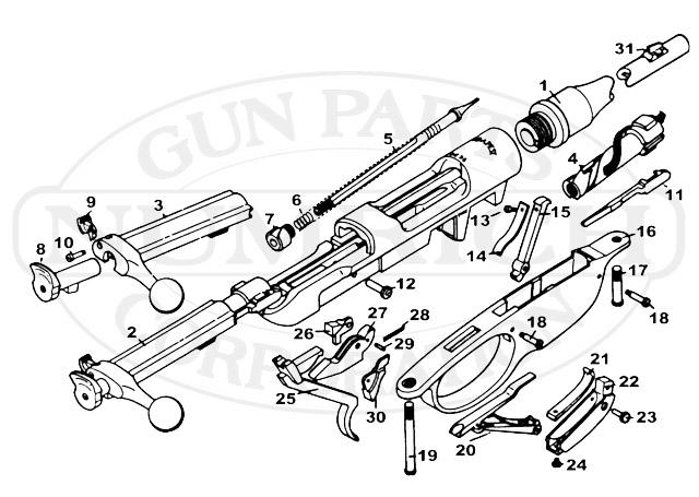 Steyr Rifles M-95 Straight Pull gun schematic
