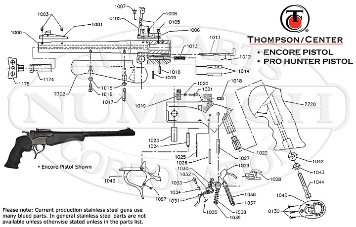 encore pistol schematic numrich rh gunpartscorp com flintlock pistol parts diagram m&p pistol parts diagram