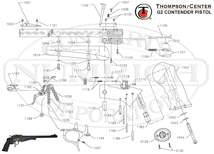 Contender Pistol - G2 Schematic | Numrich on revolver schematics diagrams, shotgun schematics or diagrams, handgun schematics and how it works,