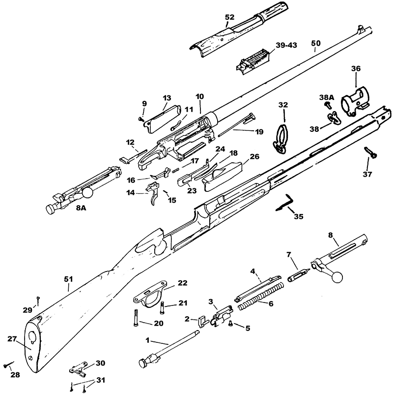 U.S. Military Rifles Krag Models Krag 1898 Parts List gun schematic