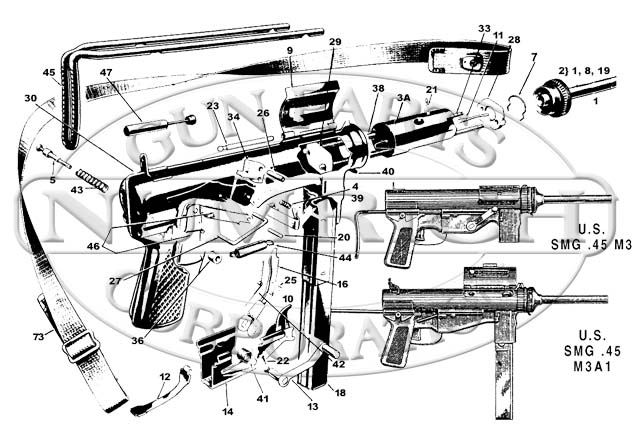 U.S. Military Machine Guns M3A1 Grease Gun gun schematic