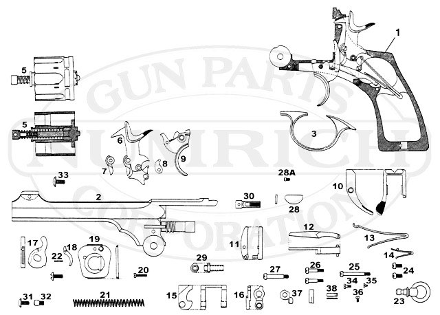 Webley & Scott Revolvers Mark VI gun schematic