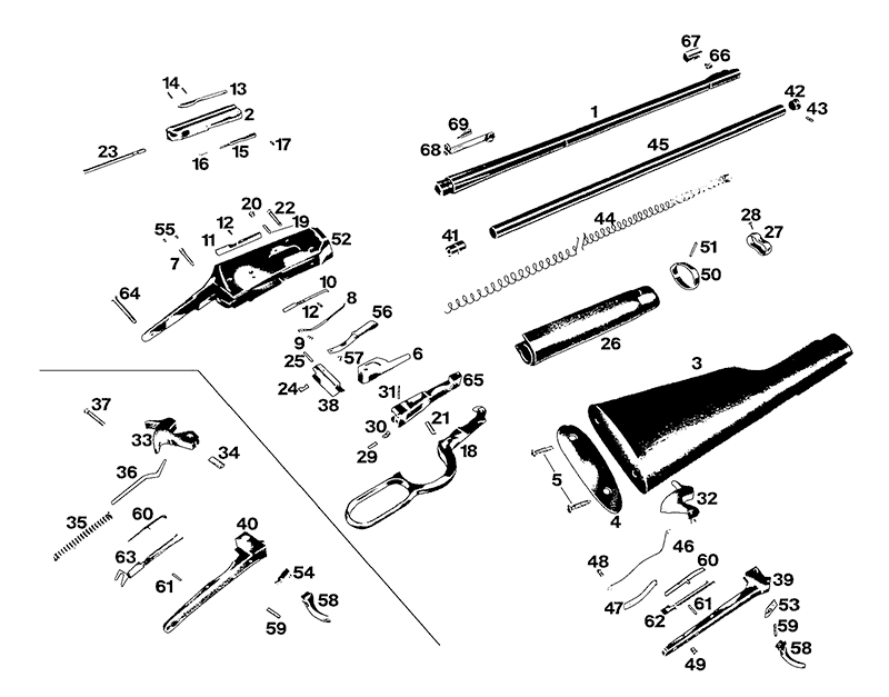 Winchester Rifles 94 Series 94 Post 64 Series 94 Post 64 Top Eject Standard gun schematic