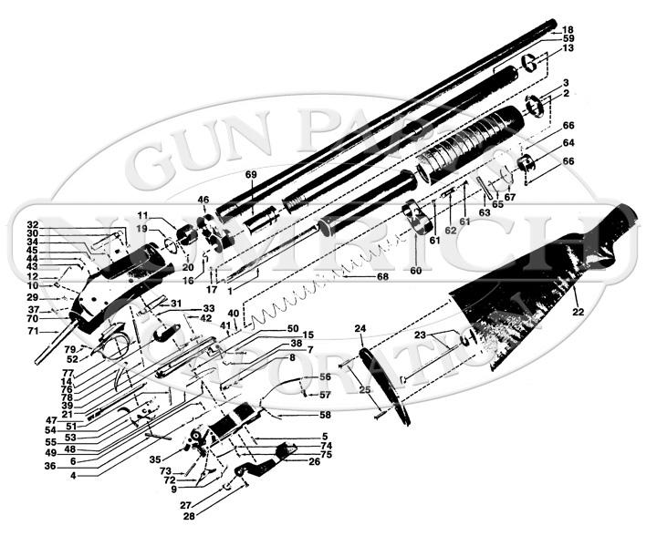 Winchester Shotguns 97 (Takedown & Solid Frame) gun schematic