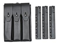 Three Pocket Pouch (Leather) w/ Three New 9mm 30 Round Straight Magazines