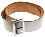Dress Belt w/Buckle & Loop, White Leather, 2-1/8