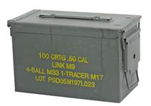 "Ammo Can, .50 Cal., OD Steel w/ Hinged Lid, 5-1/2"" x 11"" x 6-3/4"", Very Good-Exc"