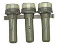Grenade Tubes, Set of 3, Belgian Military, OD Plastic, VG to Exc