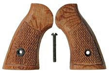 Grips, Brown Checkered Wood w/ Screw