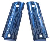 Grips, Blue, Aluminium, Flame Pattern, Factory Original, New
