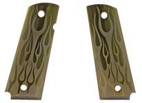 Grips, Green, Aluminium, Flame Pattern, Factory Original, New