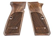Browning Hi-Power pistol grips made from French Walnut, Hi-Power logo.