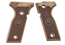 Beretta 8000 pistol grips made from English Walnut, 9mm & .40 S&W Cal., Beretta logo.