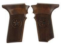 Grips, High Quality Replacement, Checkered Black Walnut w/Logo - No Safety Cut