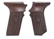 Grips, High Quality Replacement, Checkered Black Walnut w/Safety Cut & Logo