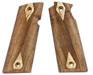 Star Model B pistol grips made from French Walnut, Diamond design.