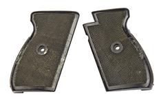 Grips, Black Checkered Plastic Wraparound (Two Screw Type)