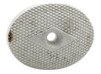 "Grip Cap, 1 1/2"" x 2"", Checkered White Plastic w/Diamond Around Screw Holes"
