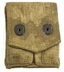 Magazine Pouch, 2 Pkt, WWI U.S. Surplus, Fair-Good Condition, Marked, Khaki