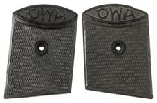 Grips, Original, New Old Stock, Checkered Plastic w/OWA Logo