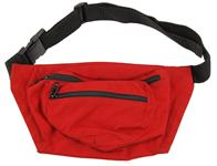 Gunny Sack Belt Pouch Holster, 2 Zipped Compartments, Red Lightweight Ballistic Nylon