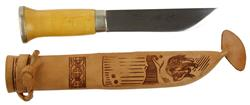 """Knife w/Leather Sheath, 6"""" Carbon Steel w/Reindeer Engraving, Curly Birch Handle, Used"""