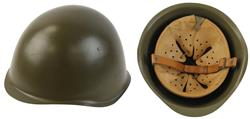 Helmet w/Leather Suspension & Chin Strap, EU Military, Czech Army, Used