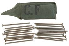 "Nail & Pouch Set w/Canvas Pouch & 20 Ea 4"" Square Nails, Danish Civil Defense"