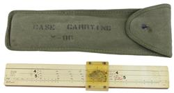 Carrying Case, M86, OD Green Canvas w/Artillery Slide Rule, Used